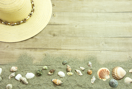 symbolize: these objects symbolize the theme of holidays and the beach Stock Photo