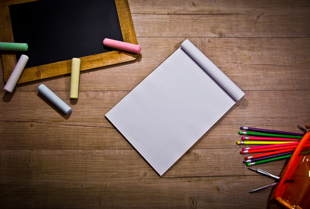 subdued: Various object for school in a subdued atmosphere Stock Photo