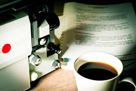 screenwriter: Writing screenwriter super 8 time Stock Photo