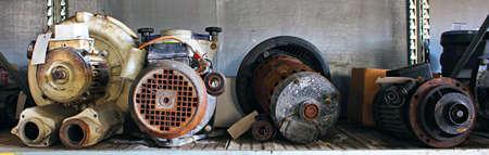 Broken motors and parts in a junk yard