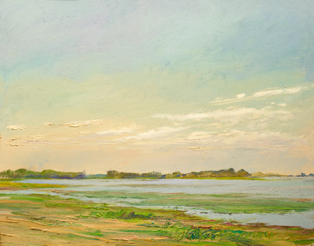 canvas background: clouds illuminated by the sun over the river in the desert, painting oil on canvas