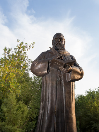 First monument to Persian philosopher and poet Omar Khayyam Nishapuri in Russia. Astrakhan.