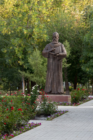national poet: Astrakhan Russia - August 27, 2016: Unique monument to Persian philosopher and poet Omar Khayyam Nishapuri in Russia. Editorial