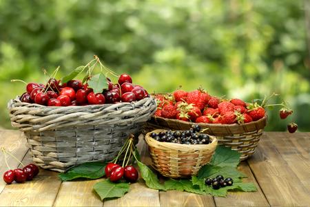 Sommer-Geschenke: Süßkirsche, Erdbeere und schwarze Johannisbeere in Weidenkörbe auf Holztisch auf Hintergrund der grünen Blätter