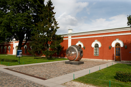 display machine: SAINT-PETERSBURG, RUSSIA - August 18, 2017 - Landing module of topographical satellite Comet. The Museum of astronautics and rocket technology in St. Petersburg. Petersburg