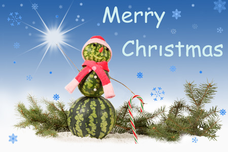 made from watermelon Snowman  in red hat and scarf with candy cane on blue background and falling snowflakes. Holiday concept for Christmas with  inscription and star