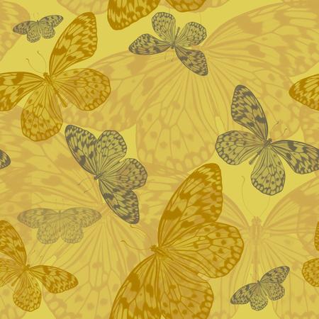 Seamless abstract art pattern of tropical butterflies Idea Leuconoe in yellow tones