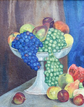 Painting oil on rough canvas. Still life with fruits and vegetables. Grapes, pears, apples, plums  in a vase and on the table.