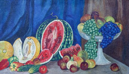 Painting oil on canvas. Still life with a watermelon, fruit and vegetables. Watermelon, melons, peppers, cucumbers, pears, apples, plums, grapes in a vase. Reklamní fotografie