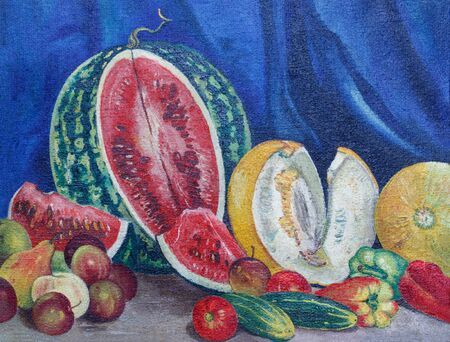 Painting oil on rough canvas. Still life with a watermelon, fruits and vegetables. Watermelon, melons, peppers, cucumbers, pears, apples, plums and tomatoes on table on blue curtain background. Reklamní fotografie