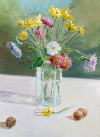 Painting oil on cardboard. Sketch. Summer colorful bouquet in the glass  jug on table in the garden.
