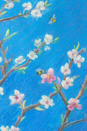 Painting pastel on paper. Blooming branches against the blue sky. Spring Bees Bees flying over flowers. over flowers. Decoration for interior. Imagens - 132125153