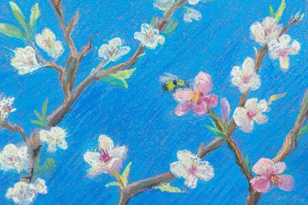 Painting pastel on paper. Blooming branches against the blue sky. Spring Bee on the flower. Decoration for interior.