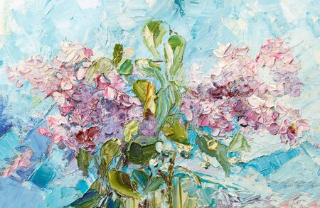 Painting oil on canvas - Bouquet of pink lilac against the blue sky.