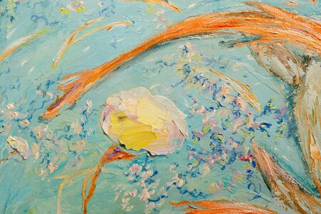 Painting oil on canvas as abstract colorful background. Closeup fragment of the painting oil on canvas - Two yellow turtles swimming in blue water.