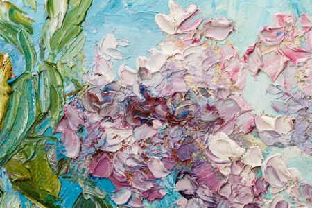 Abstract background. Closeup fragment of the picture. Painting oil on canvas - Bouquet of lilac against the sky. Imagens