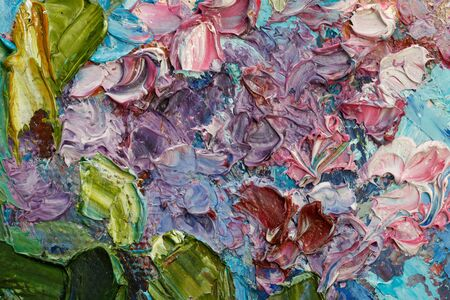 Abstract background . Closeup fragment of the picture. Painting oil on canvas - Bouquet of lilac against the sky.