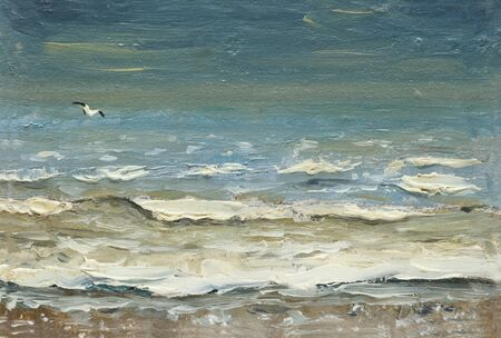 painting oil on canvas - Sea after the storm foaming waves and seagulls over the water. Фото со стока - 132330473