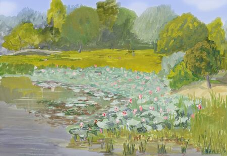 painting gouache on paper - Blossoming lotuses in Volga river delta Imagens
