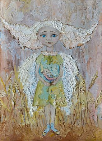 Painting oil on canvas Blue-eyed angel with bird at wheat field Banque d'images