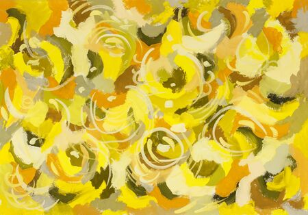 Abstract art color background  in shades of yellow. Handmade painted background.Gouache painting on paper.  Banque d'images
