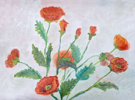painting oil on canvas - Red poppies on blue sky background
