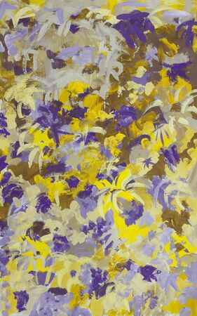 Abstract art color background  in shades of violet and yeloow. Hand-painted background.Gouache painting on paper