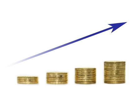 blue arrow and golden coins growth chart. business concept Imagens