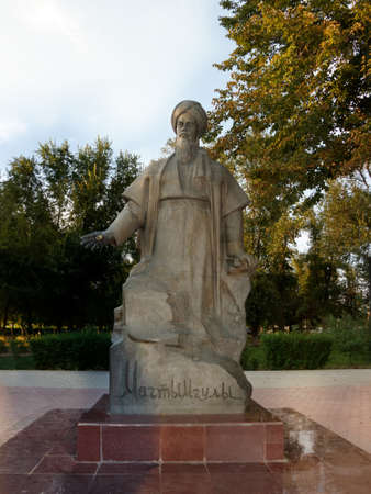 Astrakhan Russia - August 27 2016: The only monument Magtymguly 1724 - 1807, Turkmen spiritual leader and philosophical poet ,  in Russia.