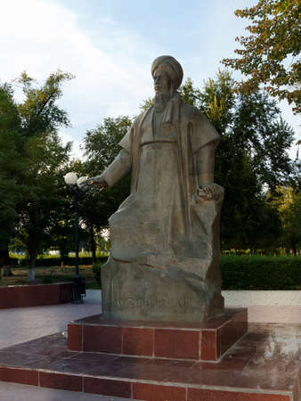 Astrakhan Russia - August 27 2016: The only monument Magtymguly 1724 - 1807, Turkmen spiritual leader and philosophical poet ,  in Russia. Imagens - 149126968