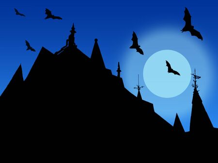 halloween background with silhouettes of castle roofs with  weather vanes and flying bats on moon and sky background Banque d'images - 150109249