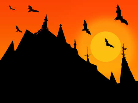 halloween background with silhouettes of castle roofs with weathervanes and flying bats on sunset background Imagens