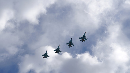 st petersburg: Group of military aircraft in the sky