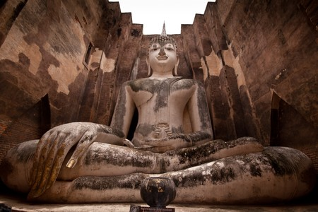 veneration: Sitting Bhddha in Skotihai ,Thailand Stock Photo