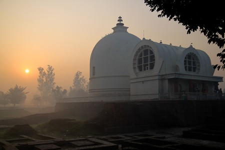 India temple and mist