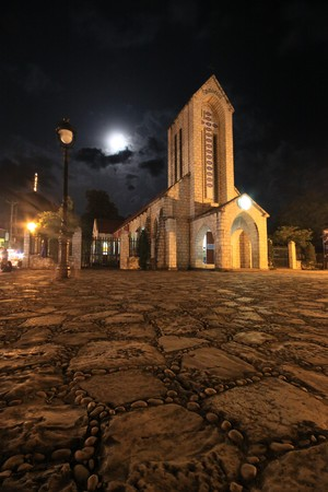 Night and Church in Vietnam Stock Photo