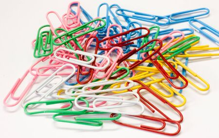 Colorful paper clip  in isolate white background