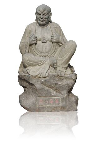 Angry monk statue