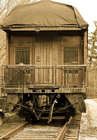wood railroads: The old train Stock Photo