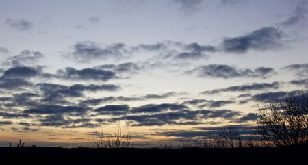 rural skyline: Image with the beautiful sunset, land and clouds