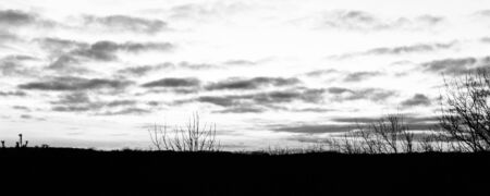 rural skyline: Black and white photo of the sunset in the rural land Stock Photo