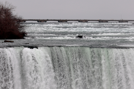 niagara river: Very beautiful closeup of the amazing Niagara Waterfall and the river