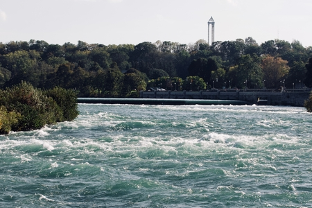 Picture with an amazing Niagara river at fall