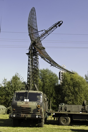 the military radar station at the lorry Editorial