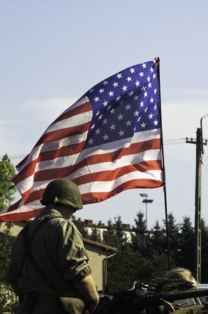 amerikai katona a zászló Sajtókép