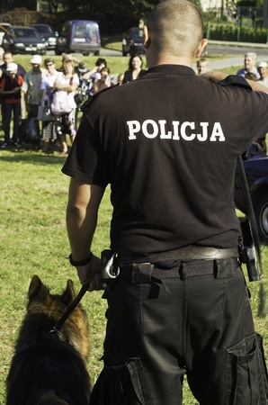 the police dog showing skills
