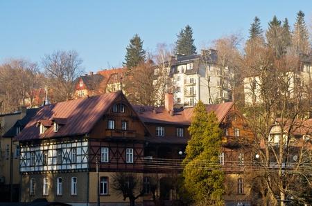 Szklarska Poreba egy kis hegyi város Nyugat-Lengyelországban Stock fotó