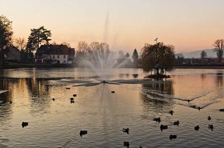 the pond in zdrojowy park in kudowa zdroj,Poland Stock Photo