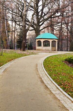 the wooden shelter in zdrojowy park, kudowa, Poland photo