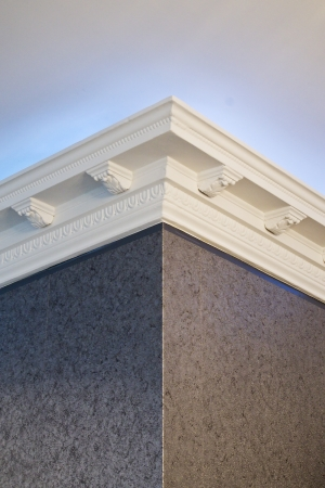 the stucco ceiling mounted in luxurious room Stock Photo